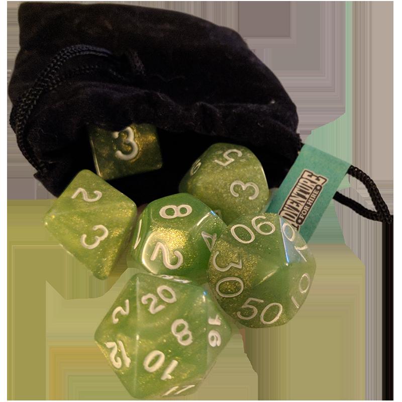 Polyhedral Dice & Velvet Bag
